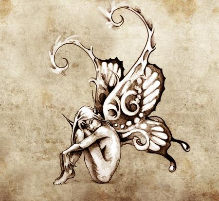 tekening vlinder: Schets van tattoo kunst, fee met vlindervleugels