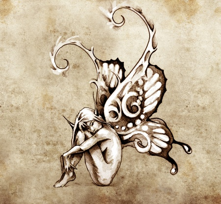 butterfly wings: Sketch of tattoo art, fairy with butterfly wings