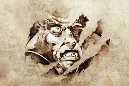 tatouage dragon: Croquis de l'art du tatouage, vampire dans la nuit Banque d'images