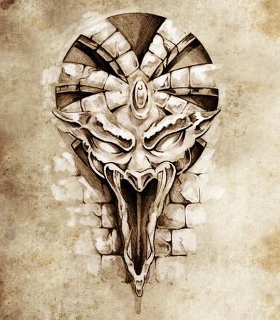 gargouille: Croquis de tatouage art, le rock gargouille masque