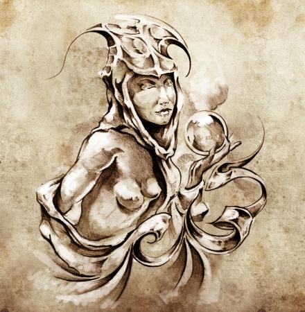 Sketch of tattoo art, nude fairy woman photo