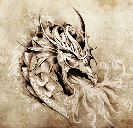 tatouage dragon: Croquis de l'art du tatouage, dragon col�re avec le feu blanc