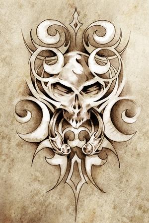 Schets van tattoo art, monster ontwerp met tribal illustraties