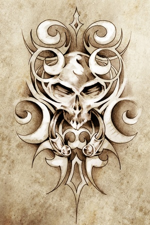 Sketch of tattoo art, monster design with tribal illustrations Stock Illustration - 13028063