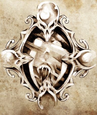 Sketch of tattoo art, magic mirror photo