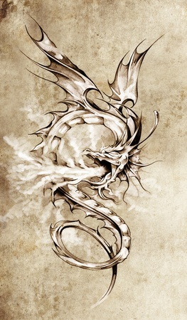pattern monster: Sketch of tattoo art, stylish dragon illustration