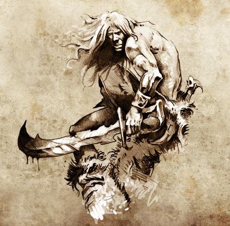 Sketch of tattoo art, warrior fighting with big sword photo