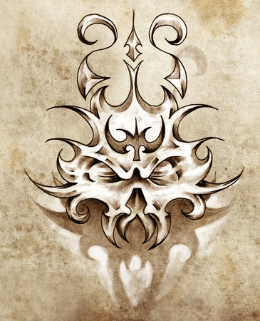 Sketch of tattoo art, skull mask with tribal design Stock Photo - 13028201