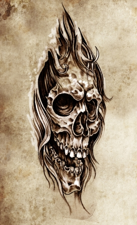 Sketch of tattoo art, skull head illustration, vintage style illustration