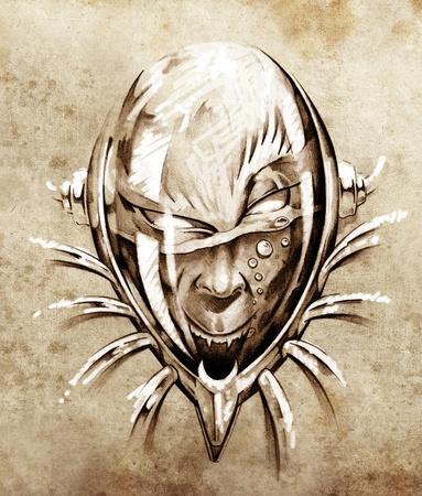 Sketch of tattoo art, skull under water photo