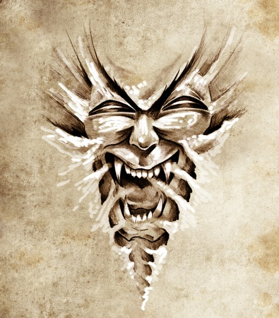 Sketch of tattoo art, monster agressive mask photo