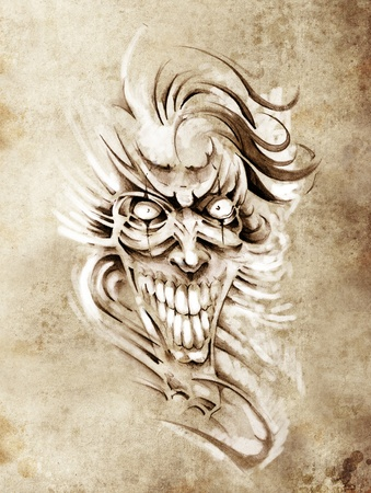 Sketch of tattoo art, smilling skull and clown photo