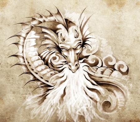 dragon tattoo: Croquis de l'art du tatouage, fantasy dragon médiéval avec feu blanc