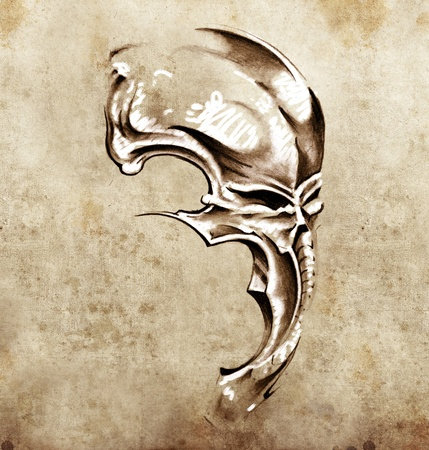 Sketch of tattoo art, skull demon mask Stock Photo - 13028478