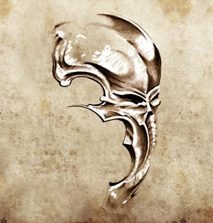 Sketch of tattoo art, skull demon mask photo