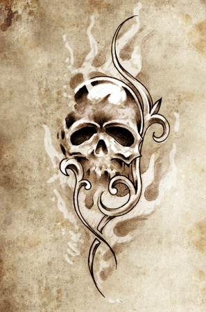 Sketch of tattoo art, skull devil, decorative vintage illustration Stock Illustration - 13028206