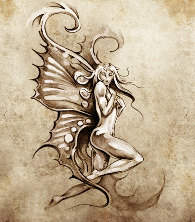 Sketch of tattoo art, fantasy fairy, nude illustration Stock Illustration - 13028359