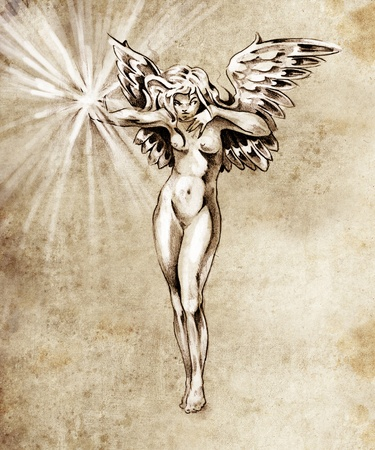 dark elf: Sketch of tattoo art, fairy angel, nude woman Stock Photo