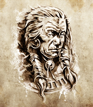 Sketch of tattoo art, Portrait of american indian chief in national dress photo
