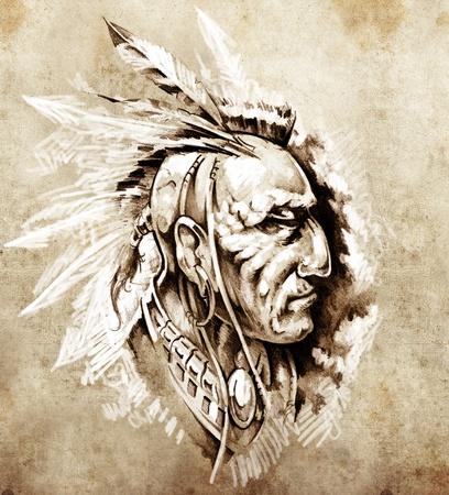 hadas caricatura: Boceto de arte del tatuaje, jefe indio americano ilustración