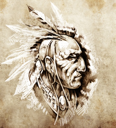 hadas caricatura: Boceto de arte del tatuaje, jefe indio americano ilustraci�n