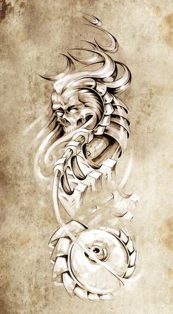 Tattoo art, animal monster and machine gears photo