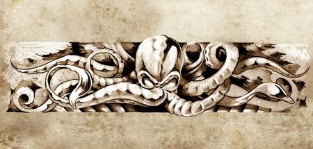 Sketch of tatto art, octopus illustration Imagens