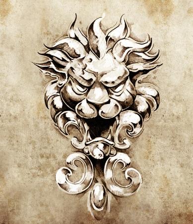 gargouille: Croquis du tatouage d'art, gargouille lion illustration Banque d'images