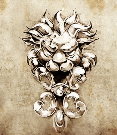 gargoyle: Sketch of tattoo art, gargoyle lion illustration Stock Photo