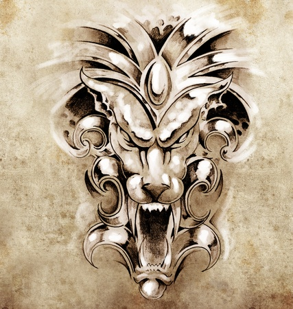 Sketch of tattoo art, gargoyle devil mask photo