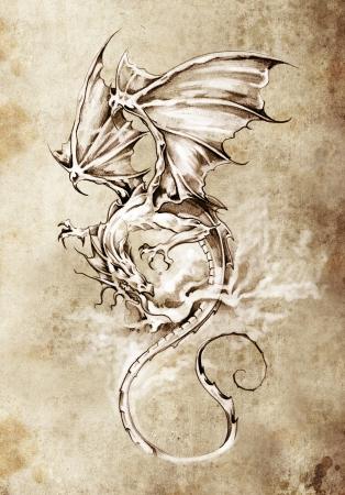 dragon tattoo: Croquis de l'art du tatouage, classique illustration de dragon Banque d'images