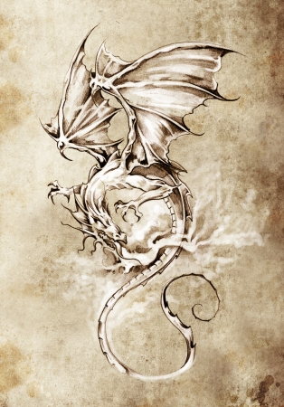Sketch of tattoo art, classic dragon illustration Stock Photo