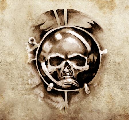 Sketch of tattoo art, monster dark mask design elements over vintage background photo