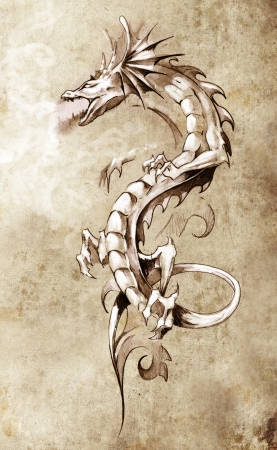 dragon tattoo: Croquis de l'art du tatouage, grand dragon m�di�val, fantastique concept de
