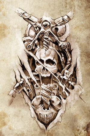 Tattoo art, sketch of a machine gears and skull photo