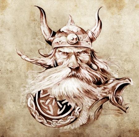 vikingo: Arte del tatuaje, dibujo de un guerrero vikingo, Ilustraci�n de un mascar�n de proa de madera antigua en una lancha vikinga