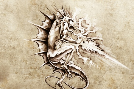 Tattoo art, sketch of a dragon burning design elements over vintage background photo