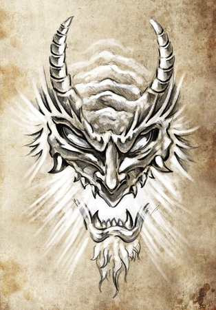 Tattoo art, sketch of a japanese monster mask photo
