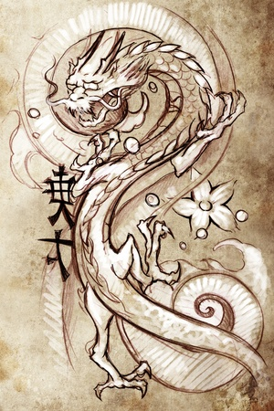Tattoo art, sketch of a japanese dragon photo