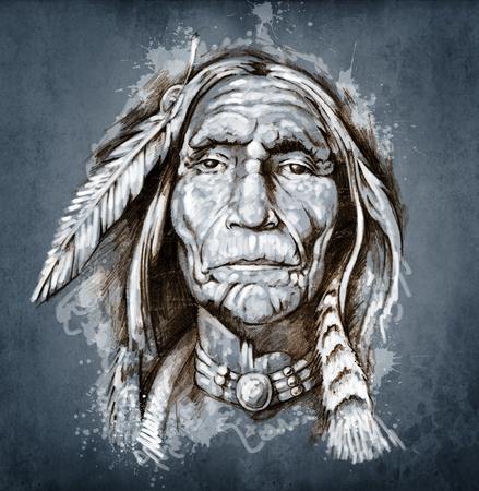 capo indiano: Sketch di arte del tatuaggio, ritratto di American Indian Head Archivio Fotografico