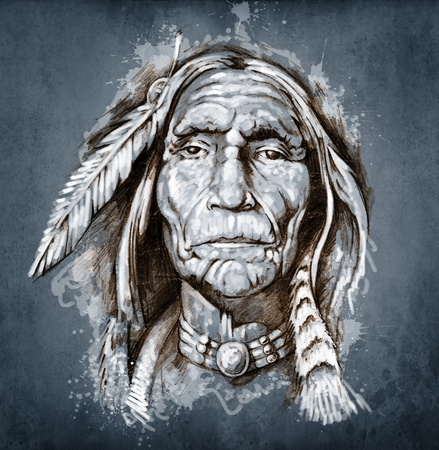 indian old man: Sketch of tattoo art, portrait of american indian head