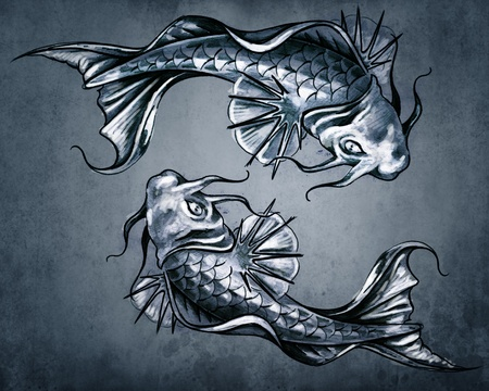 Duality concept tattoo, two  Japanese goldfish on blue vintage background photo
