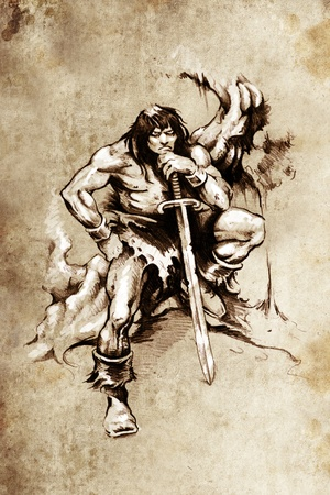 Tattoo art, sketch of a  warrior with big sword photo