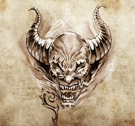 Tattoo art, sketch of a devil with big horns Stock Photo - 13100760