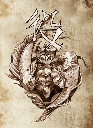 Tattoo art, sketch of a japanese warrior in vintage style photo