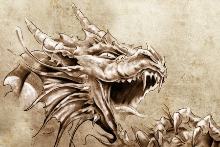 tribal dragon: Tattoo art, sketch of a anger medieval dragon