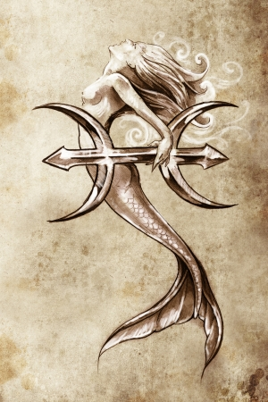 Tattoo art, sketch of a mermaid, pisces vintage style photo