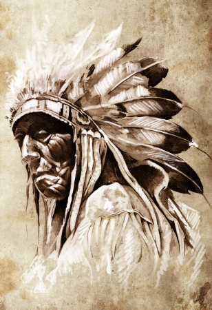 Sketch of tattoo art, indian head, chief, vintage style photo