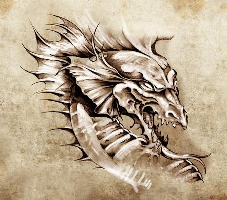 tatouage dragon: Croquis de l'art du tatouage, dragon sur papier antique