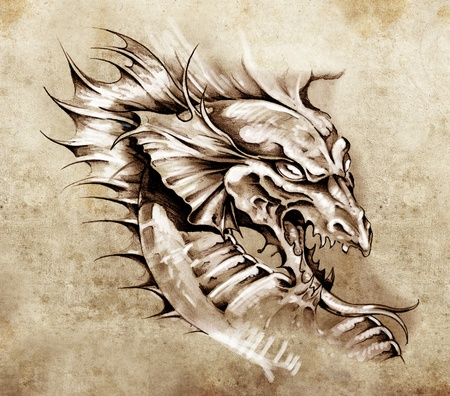 Sketch of tattoo art, dragon over antique paper photo